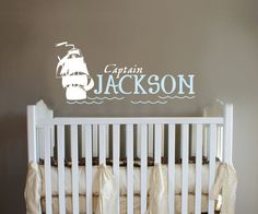 Pirate Ship monogram Captain boys room Nursery Wall by ababywall, $30.00