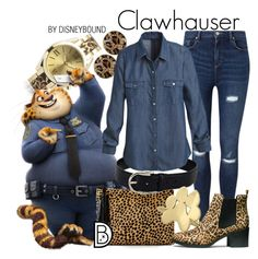 """Clawhauser"" by leslieakay ❤ liked on Polyvore featuring Geneva, Miss Selfridge, Loeffler Randall, GUESS, Gucci, White House Black Market, H&M, disney, disneybound and zootopia"