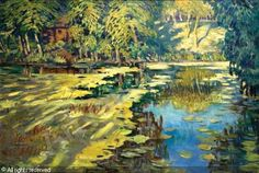 Landscape from Polabi (Water - lily) sold by Art Consulting Brno, Prague, on Sunday, October 2009 Lily Bloom, Water Lilies, Famous Artists, Prague, Impressionism, Landscape, Canvas, City, Paintings