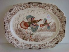 """JOHNSON BROS Windsor Ware """"Wild Turkey"""" Platter: Platter is 20""""L with Hand Engraved Transfer of Flying Wild Turkeys. Hand Colored Accents. Matches Lot #125. (200-300)"""