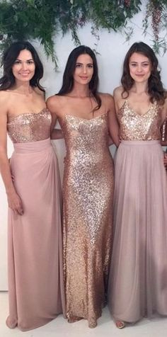 Rose gold and Dusty Rose. MOH and Bridesmaids dresses