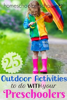 Get outdoors this spring, play, and explore nature with your preschoolers. These outdoor springtime activities are fun for the whole family! | homeschoolpreschool.net