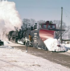CP Plow 400783 and CP 1231 Chalk River Sub. Pembroke Ontario c1958