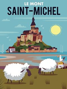 Discover recipes, home ideas, style inspiration and other ideas to try. Pub Vintage, Poster Vintage, Vintage Travel Posters, Vintage Illustration Art, Travel Illustration, France Art, Ville France, Mont Saint Michel, Art Deco Posters
