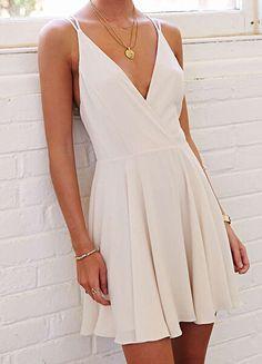White Spaghetti Strap Backless Pleated Dress