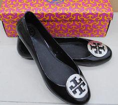 Tory Burch Metal Jelly Rubber Flat Shoes Black Silver | eBay