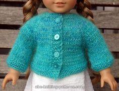 Knitting Patterns Galore - American Girl Doll Basic Top-Down Raglan Cardigan
