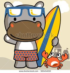 rhino and crab with surfboard in the beach vector cartoon illustration Cartoon Monkey, Baby Posters, Basic Drawing, Baby E, Kids Prints, Infant Activities, Summer Art, Boys T Shirts, Kids Girls