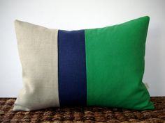 Color Block Stripe Pillow in Kelly Green, Navy and Natural Linen by JillianReneDecor (12x16) Modern Home Decor Stripe Trio. $38.00, via Etsy.