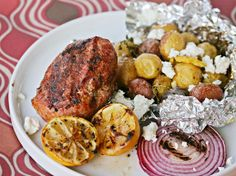Grilled Greek-Style Meatloaf with Herbed Potatoes and Grilled Lemon
