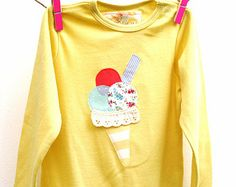 Yellow Ice Cream Applique Onesie Babygrow 9-12 Months Organic Cotton Baby Toddler