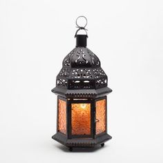 Amazon.com - Richland Hanging Moroccan Metal Lantern with Blue Embossed Glass -
