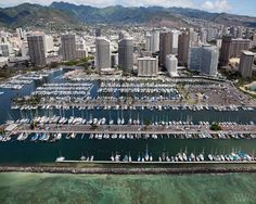 Aerial view of the Waikiki Marina from a helicopter tour, Oahu, Hawaii