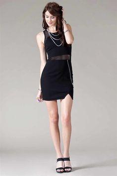 Mix Mesh Mini Dress