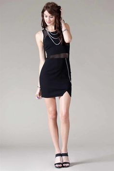 Mix Mesh Mini Dress