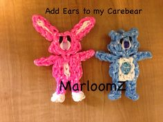 "Rainbow Loom BUNNY. Designed and loomed by MarloomZ Creations. Marlene said: ""...simply add bunny ears to my CareBear tutorial and you have a cute bunny ( MarloomZ Creations)."""