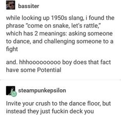 """Same thing with """"let's dance) tho..."""