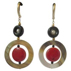 Art Deco Coral Onyx Pearl Mother-of-Pearl Dangle Earrings | 1stdibs.com