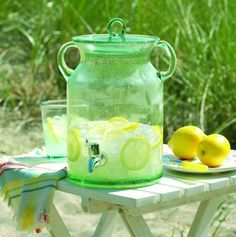 Recycled Green Glass Drink Beverage Dispenser Pitcher, perfect for lemonade for barbecues and the beach