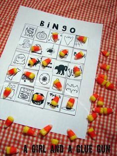 Halloween Games for kids (print out a basic grid with and let the kids glue the squares on to get a full card, then play)