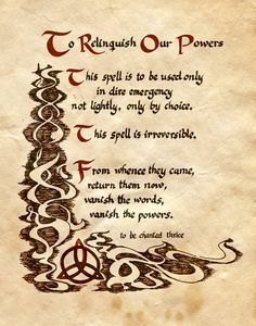 """Book of Shadows:  """"To Relinquish Our Powers,"""" by Charmed-BOS, at deviantART."""
