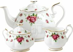 the vintage patterns of this Royal Albert tea set bring an beautiful look. This tea set includes a teapot, a covered sugar bowl and a creamer, made of fine bone china with intricate detailing, vibrant colors and a gold rim. Royal Albert, Vintage Tee, Teapot Cover, Sugar Bowls And Creamers, China Tea Sets, Tea Pot Set, Pot Sets, Rose Tea, Bone China