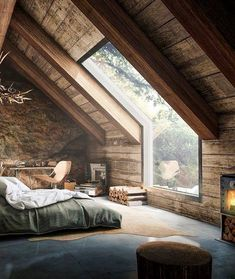 Elegant Attic Bedroom Design And Decoration Ideas - Think about using a decorating theme that you will like, but also one which can help to make your room appear larger. Farmhouse Master Bedroom, Bedroom Loft, Bedroom Rustic, Attic Bedrooms, Wood Bedroom, Master Bedrooms, Loft Room, Bedroom Green, Rustic Bedding