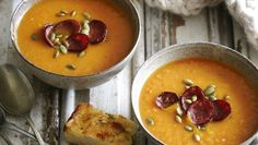 A hint of chilli, along with various spices, turns this pumpkin soup into a particularly warming brew.