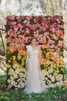 """fresh flower ceremony backdrop. I think this would be beautiful in different colors and used as the back drop for the crazy """"photo booth"""" pictures! but without the actual photo booth"""