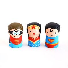 Superhero peg dolls, these are made from Wine Corks