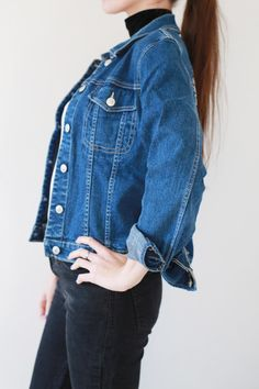 Upcycle Denim Woman Oversize Jacket / Jeans Girls 90s Wings