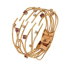 Rose gold 18k bracelet with rubies 1.20 ctw and diamonds 0.80 ctw