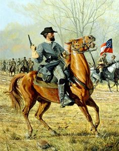 Forrest At Shiloh.   Confederate colonel Nathan Bedford Forrest leads his troops during the battle of Shiloh in 1862