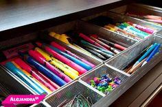 Office/Cubicle Organization-  Perfectly organized office supplies always brighten my day ☼ #AlejandraTV