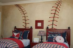 baseball bedroom decorating ideas | is more? Doesn't get much simpler that this…..mural of baseball ...
