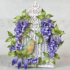 Gallery Bronze Art, Purple Wisteria, Cascading Flowers, Heartfelt Creations Cards, Stampin Up Christmas, Christmas Cards, Card Making Tutorials, Bird Cards, Wedding Humor