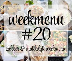 Lekker en makkelijk weekmenu – week 20 met weer heel veel lekkere, makkelijke en gezonde recepten zoals zoete aardappel, kip en groente uit de oven, aspergesoep, Griekse wraps en Japanse yakitori. We sluiten de week af met een all-time favoriet, blueberry muffins. Food, Muffins, Wraps, Drinks, Fashion, Seeds, Drinking, Moda, Muffin