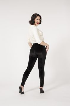 Traci Lords Lola Pants in Black Velvet | pinup girl
