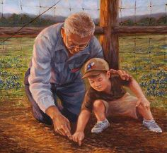 Planting love. Growing together.Grandpa's patience is a harvest of legacy.