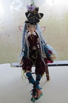 SKYLAR, ball jointed paper clay puppet STEAMPUNK