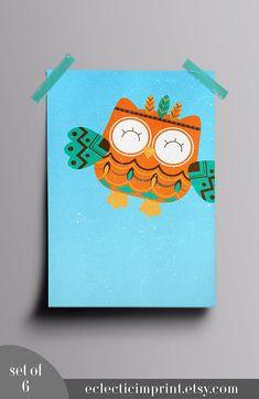 Tribal Owl Nursery prints Set of 6 prints Instant download