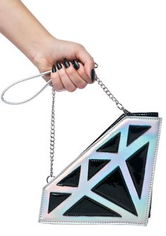 Diamond Crush Clutch ...don't come lookin' for me unless ya got a big rock in yer pocket! Show 'em ya only want things that last ~forever~, like this adorable diamond shaped clutch, featurin' a holographic 'n black patent construction, top zip closure, wrist strap, and an exxxtra thin chain over-the-shoulder strap.
