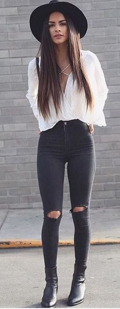 black jeans, white lace up top