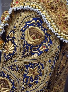 Find high resolution royalty-free images, editorial stock photos, vector art, video footage clips and stock music licensing at the richest image search photo library online. Gold Work, Silver Work, Gold Embroidery, Embroidery Patterns, Matador Costume, Folk Costume, Embroidery Techniques, Textiles, Blue Fabric