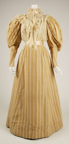 Striped afternoon dress (front, with detachable lower sleeves and chiffon dickie), American, 1890s.