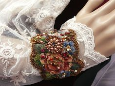 Bead embroidered wrist needlepoint floral cuff  bracelet seed beaded jewelry OOAK victorian romantic shabby chic textile
