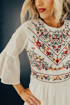 1ea7141b06 The DeMille Embroidery Dress Floral Embroidery Dress, Flowing Dresses,  White Floral Dress, Bell