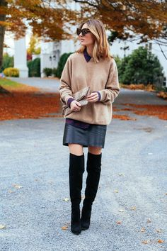 Leather Skirt, Cashmere Sweater and Over the knee boots