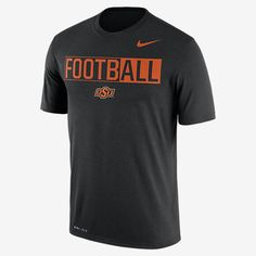 "REPRESENT YOUR TEAM The Nike College Legend ""FootbALL"" (Oklahoma State) Men's T-Shirt shows team loyalty with a bold print graphic and school colors on soft, sweat-wicking fabric. Benefits Dri-FIT fabric helps keep you dry and comfortable Rib crew neck with interior taping for comfort Product Details Fabric: Dri-FIT 100% polyester Machine wash Imported"