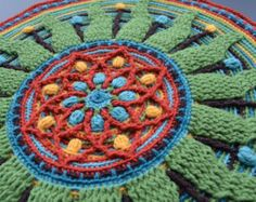 Mandala Crochet Round Placemat with Sun, Decoration for pillowcase and Meditation, gift